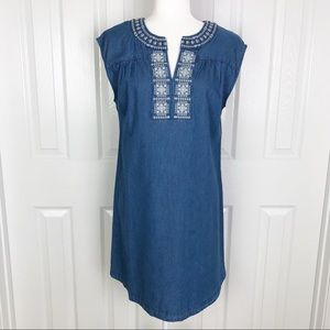 NWT Knox Rose embroidered chambray shift dress